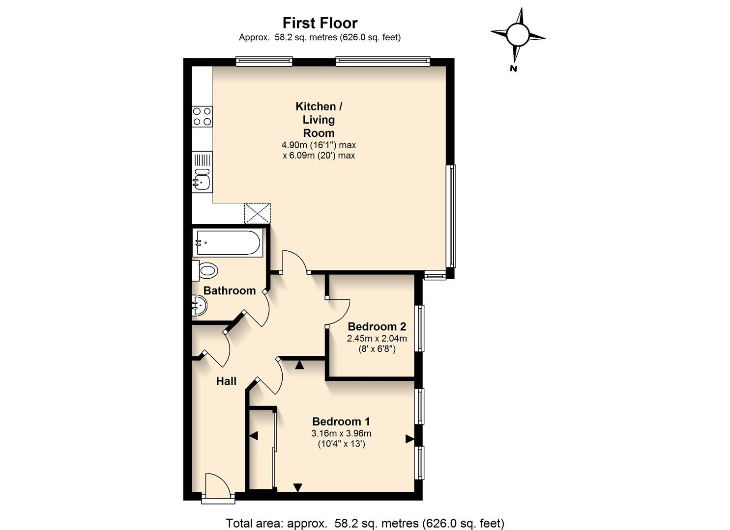 2 bedroom property to let in Old Mile House Court, St