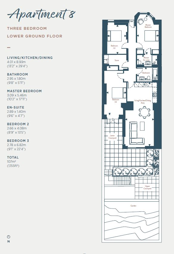 Floorplans for Apartment 8, South Learmonth Gardens, Edinburgh, EH4