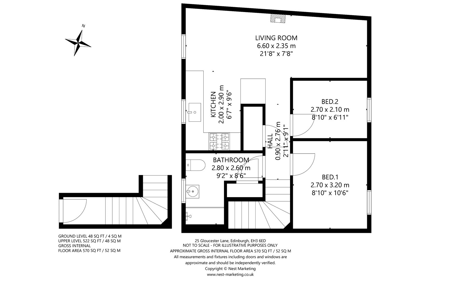 Floorplans for Gloucester Lane, Edinburgh, Midlothian, EH3