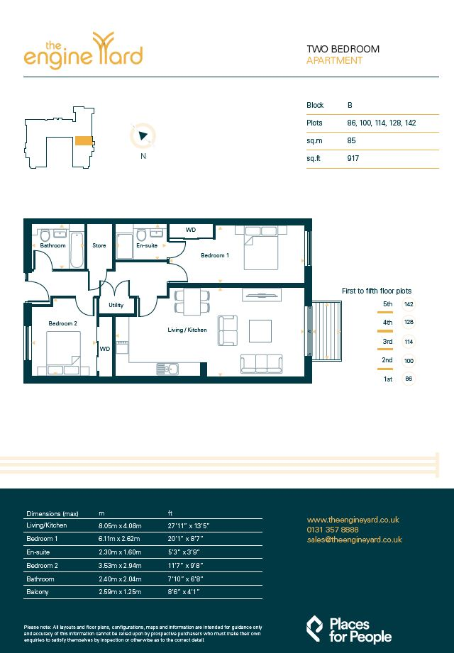 Floorplans for Plot 100, The Engine Yard, Edinburgh, EH7