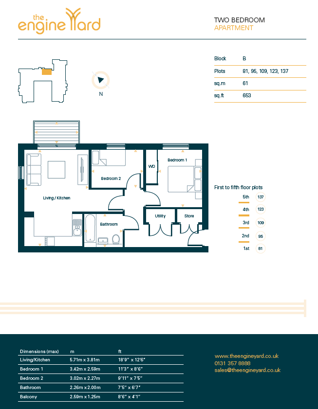 Floorplans for Plot 109, The Engine Yard, Edinburgh, EH7