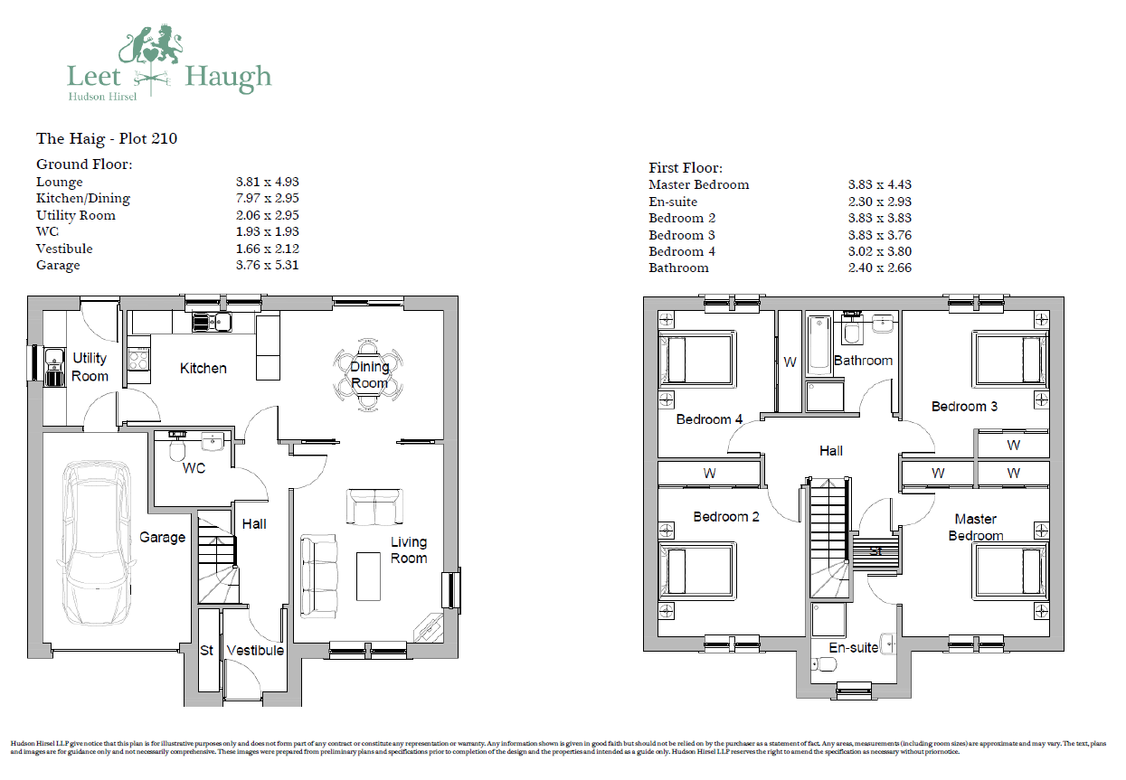 Floorplans for Plot 210, Leet Haugh, Coldstream, TD12