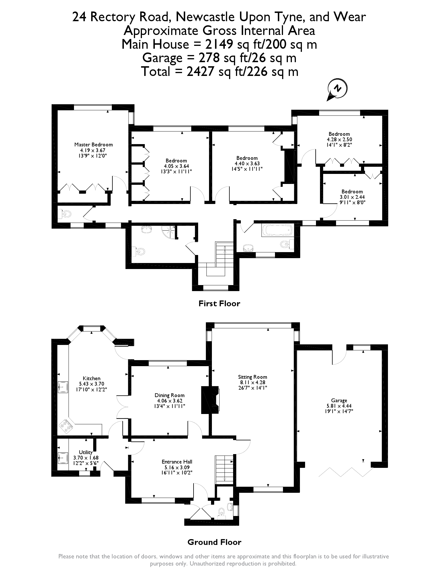 Floorplans for Rectory Road, Gosforth, Newcastle Upon Tyne, NE3