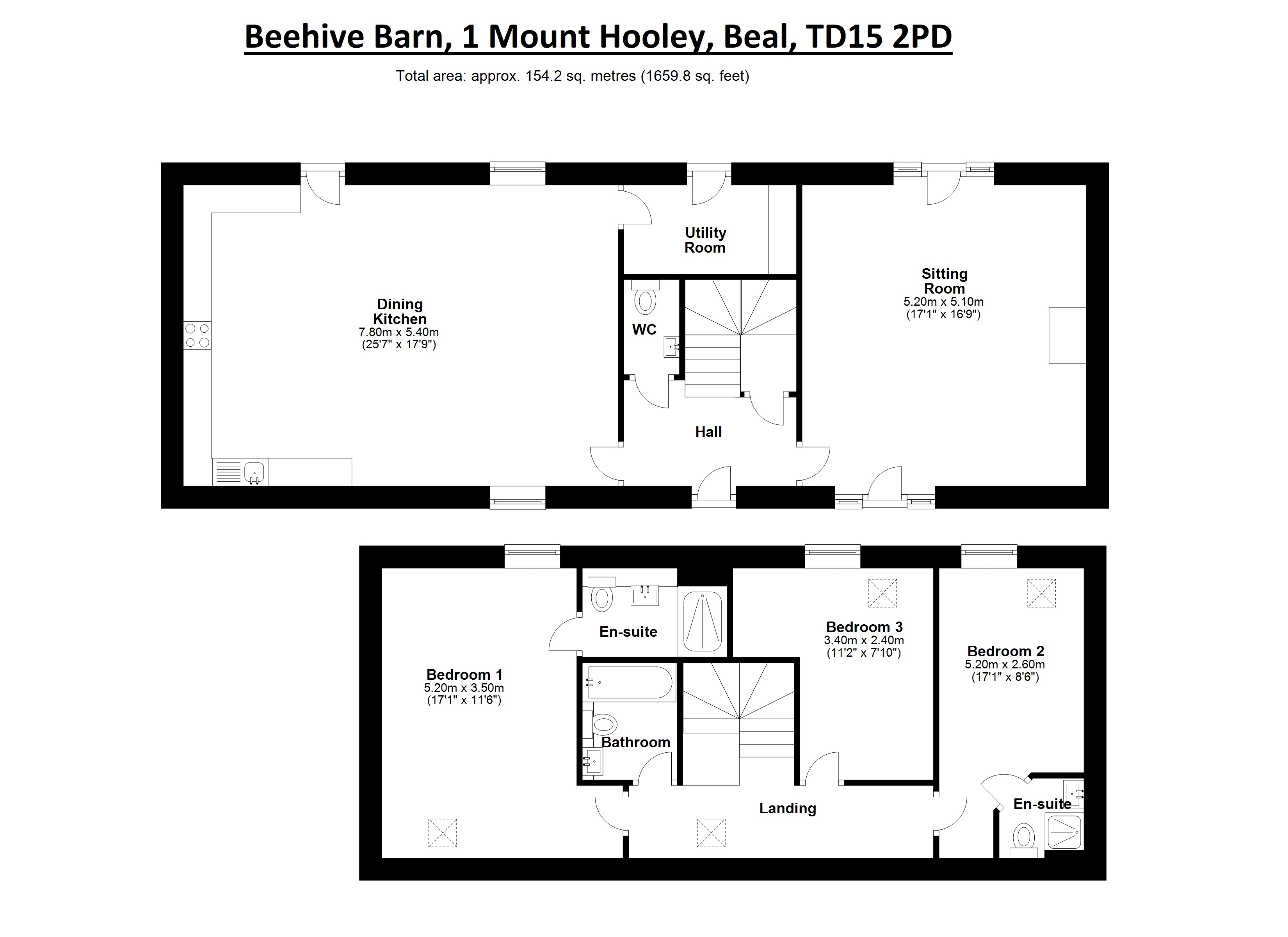 Floorplans for Beehive Barn, 1 Mount Hooley, Beal, TD15