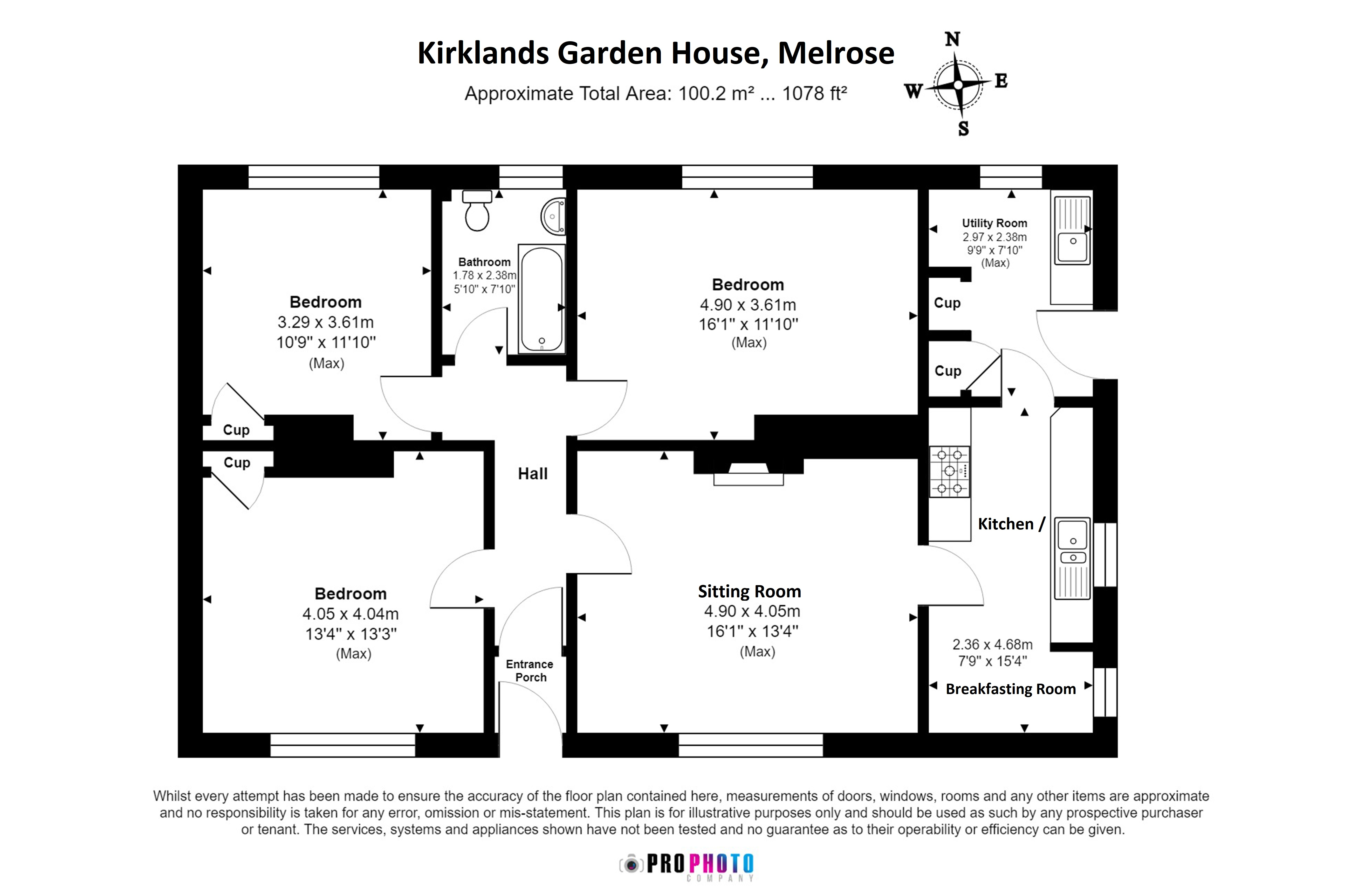Floorplans for Kirklands Garden House, Kirklands, Melrose, TD6