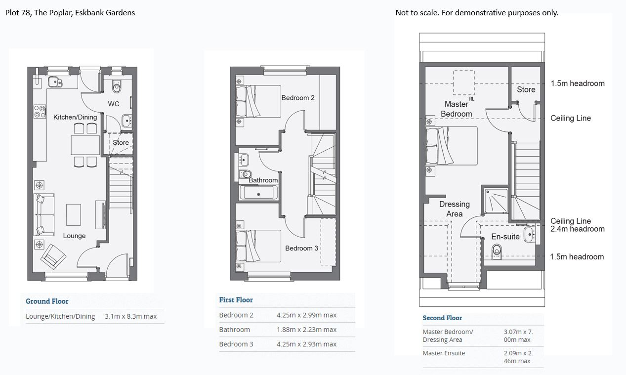 Floorplans for Plot 78,The Poplar, Eskbank Gardens, Eskbank, Midlothian, EH22
