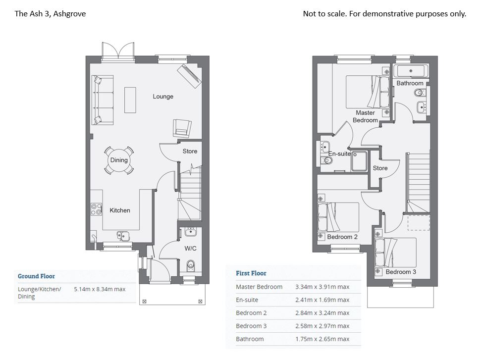 Floorplans for Plot 57, The Ash 3, Ashgrove, Straiton, Midlothian, EH20