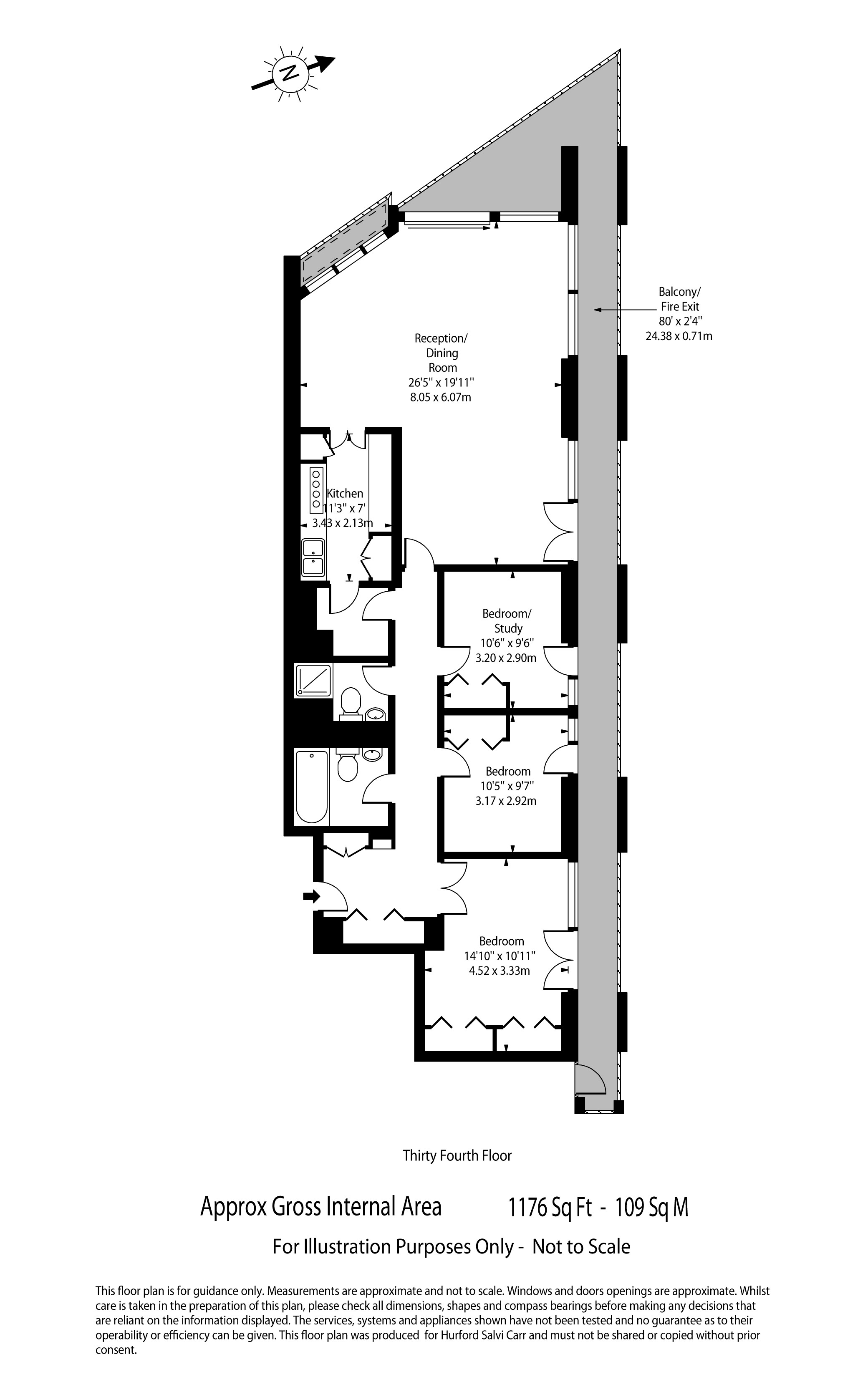 Cromwell Tower, Barbican, London, EC2Y floorplan