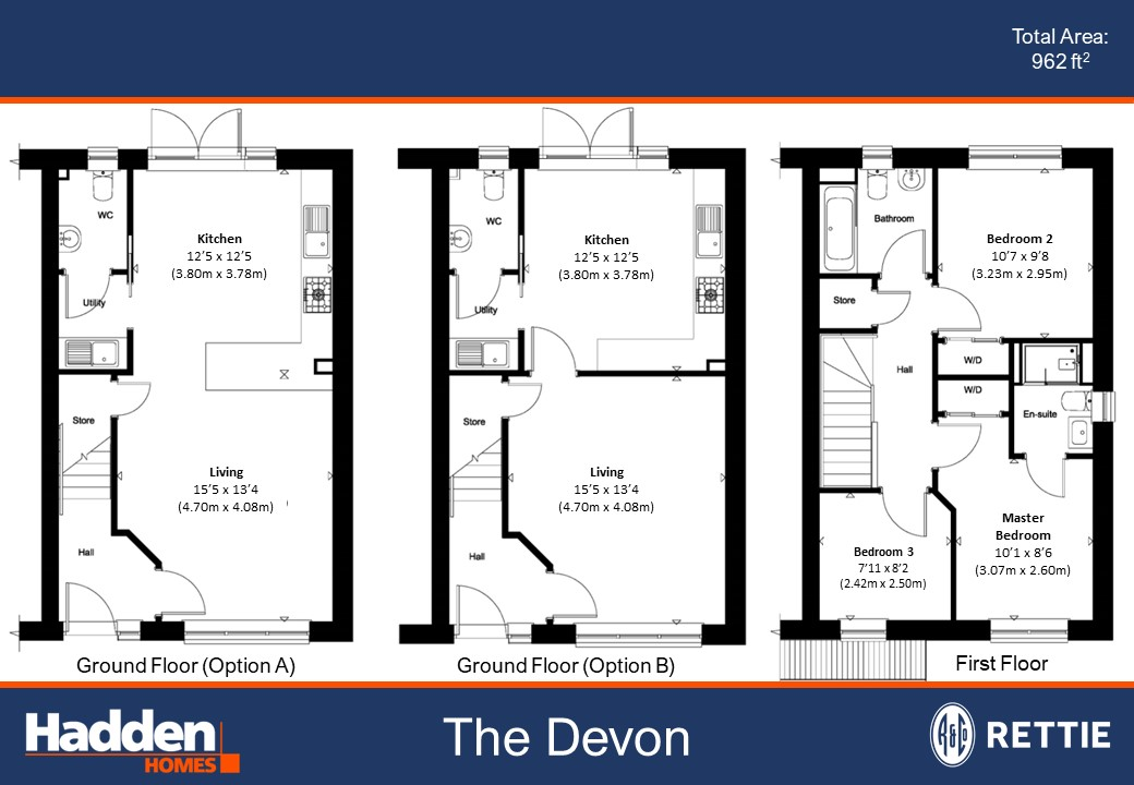 Floorplans for Plot 3, The Devon, Glenluie Green, Ardler Road, Meigle, Blairgowrie, PH12