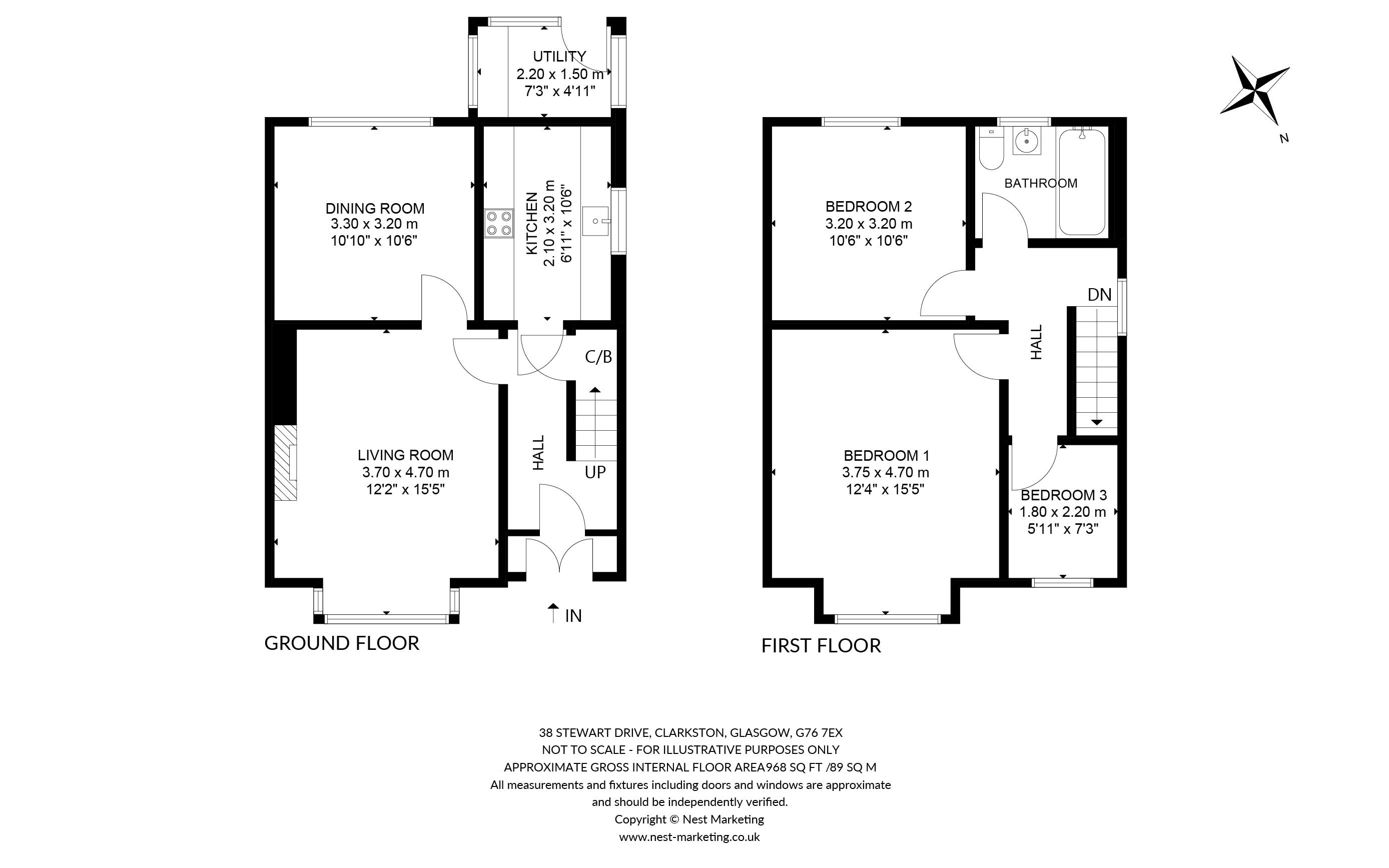 Floorplans for Stewart Drive, Clarkston, Glasgow, G76