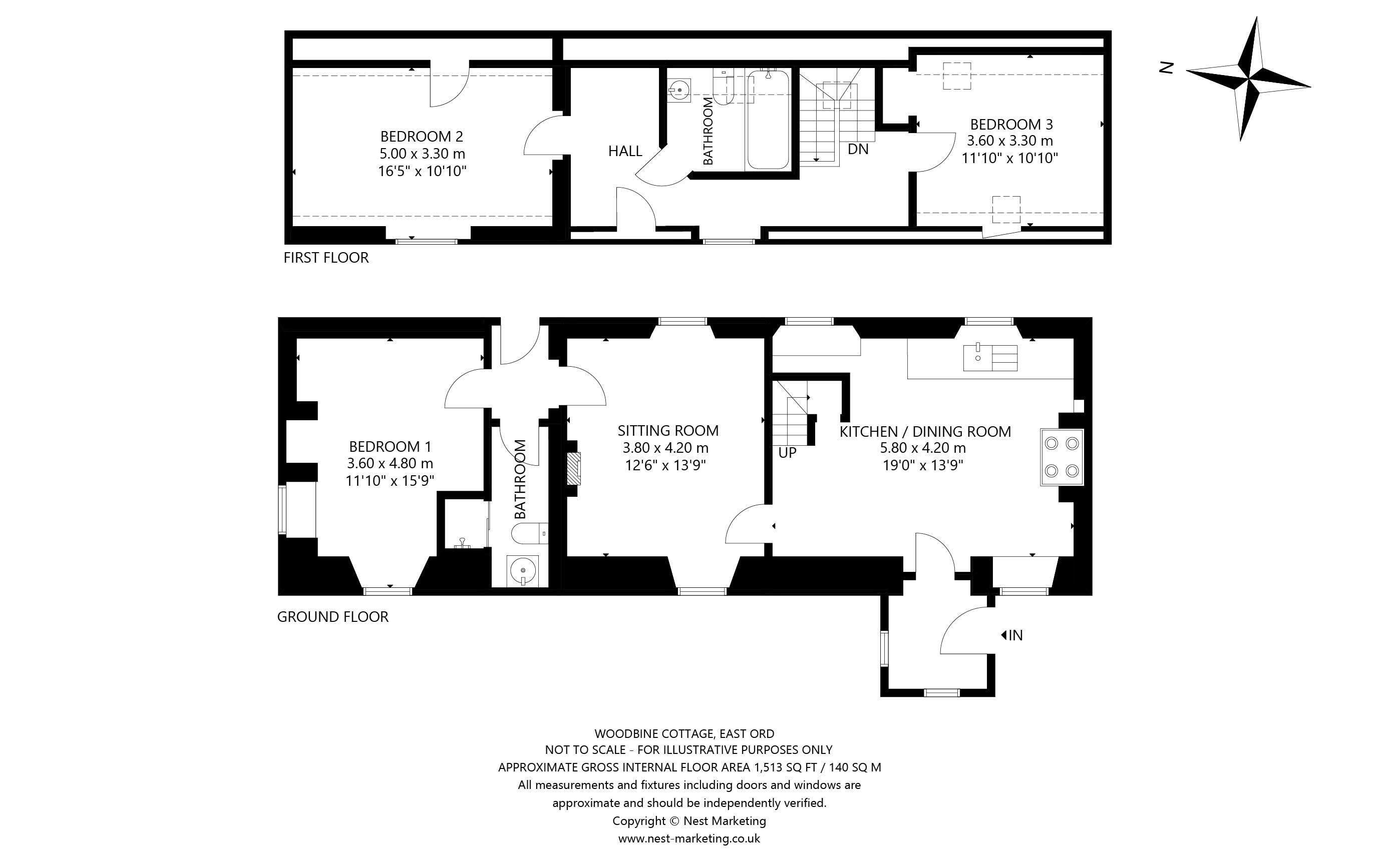 Floorplans for Woodbine Cottage, East Ord, Berwick Upon Tweed, TD15