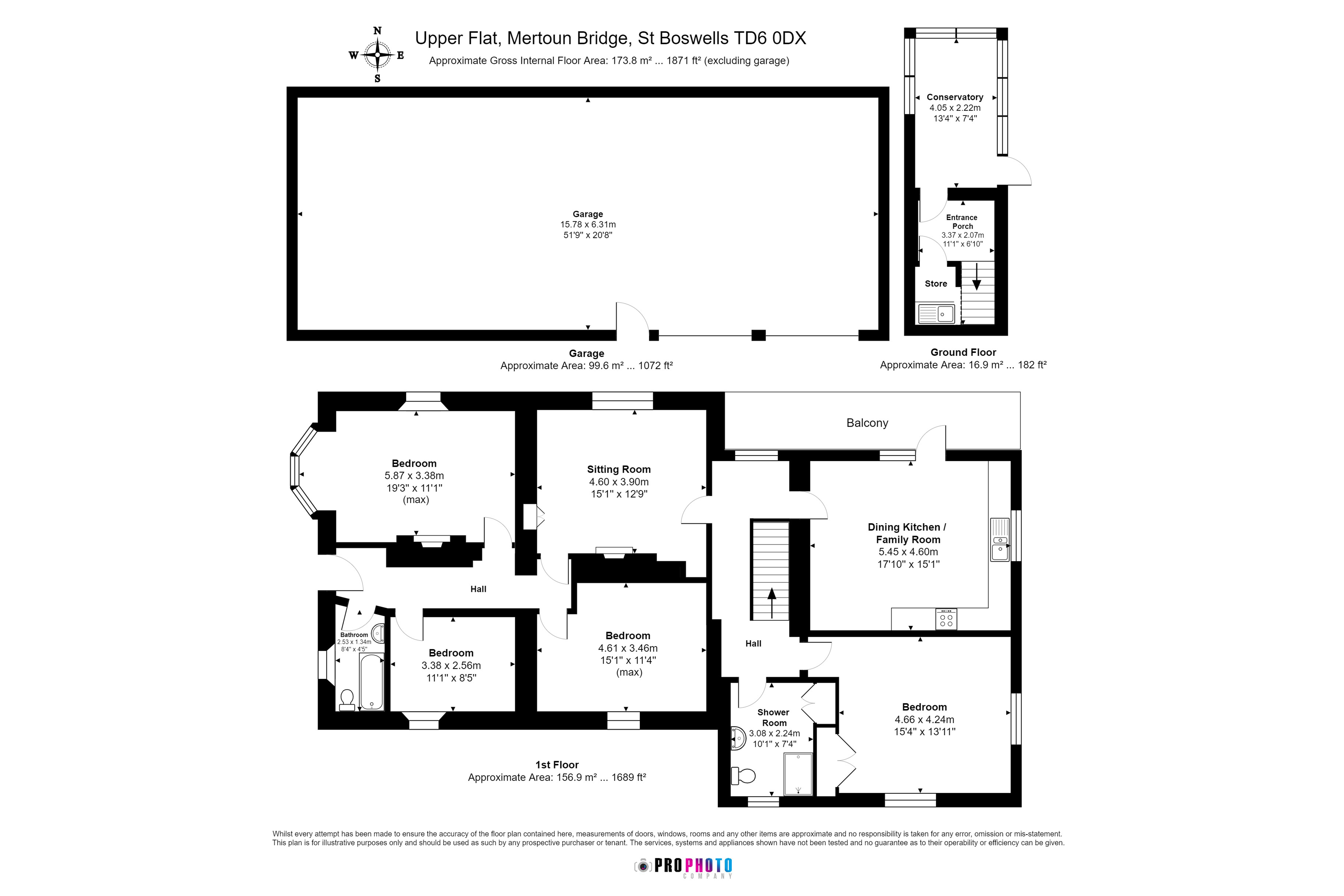 Floorplans for Top Flat, Mertoun Bridge, St. Boswells, TD6