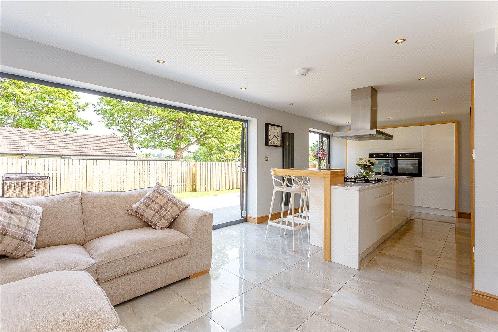 property for sale in Harrogate, interior kitchen breakfast bar and corner sofa area