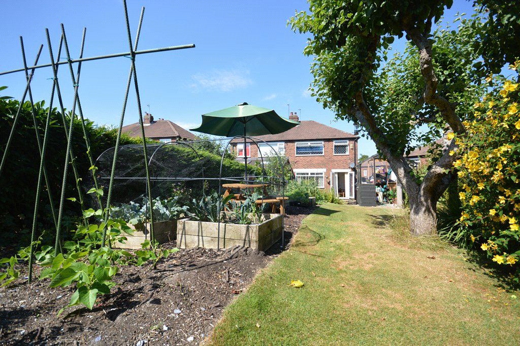 property for sale in Horsforth, garden, with vegetable plant raised beds