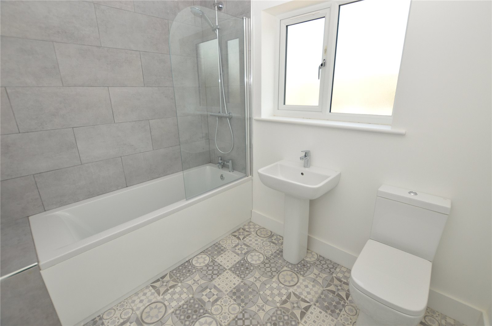 Property for sale in Rothwell, New build, Modern bathroom and grey patterned tiles