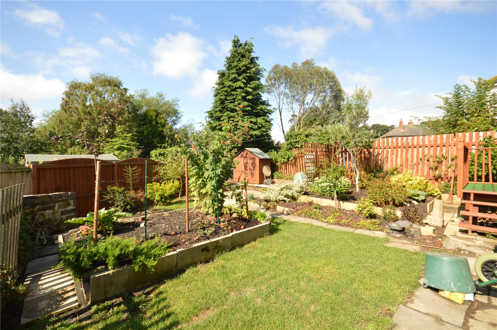 property for sale in Horsforth, rear of home, garden, spacious and well kept