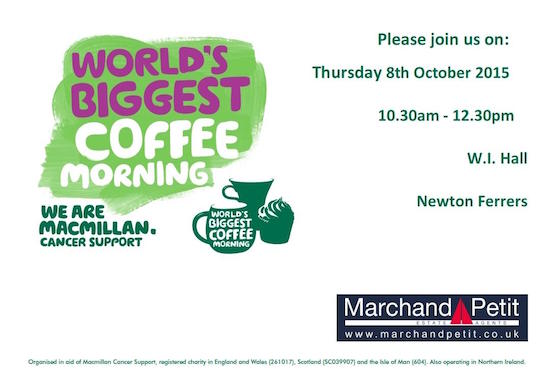Join us for the World's Biggest Coffee Morning - Macmillan Cancer Support